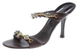 Valentino Leather Embellished Brown Sandals