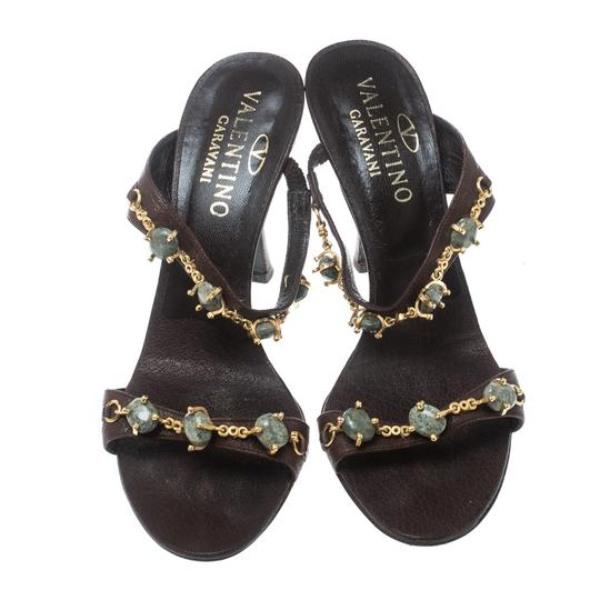 Valentino Leather Embellished Brown Sandals Image 1