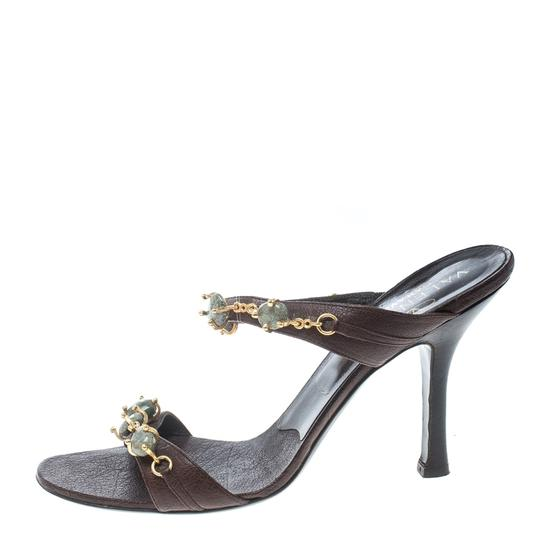 Valentino Leather Embellished Brown Sandals Image 3