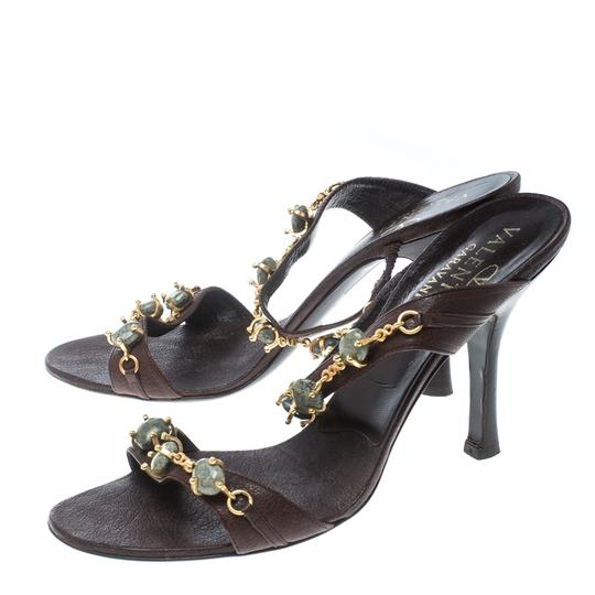 Valentino Leather Embellished Brown Sandals Image 4