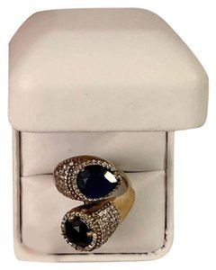 Artisan Goddess Collection MIDNIGHT SAPPHIRE BRUNCH RING Size 10.5 Solid 925 Sterling Silver/Gold WOW! Gems: Brilliantly Faceted Pear/Round Cut Sapphires, Diamond Topaz