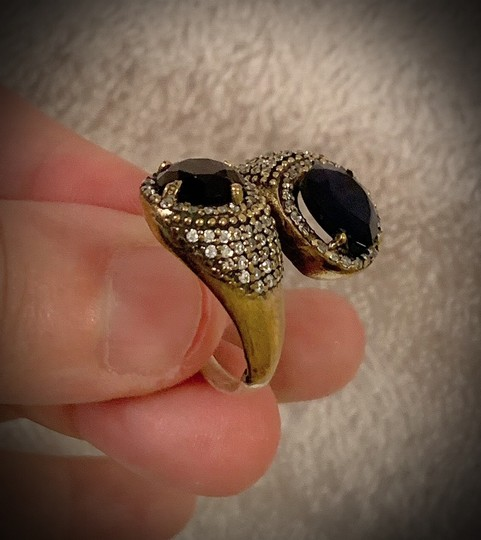 Artisan Goddess Collection MIDNIGHT SAPPHIRE BRUNCH RING Size 10.5 Solid 925 Sterling Silver/Gold WOW! Gems: Brilliantly Faceted Pear/Round Cut Sapphires, Diamond Topaz Image 8