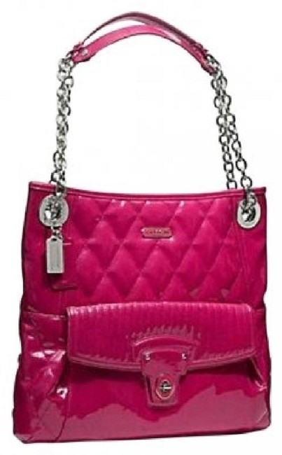 Item - Shoulder Bag Poppy Liquid Gloss Quilted Slim Large Magenta Pink Patent Leather Tote