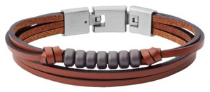Fossil NEW Multi-Strand Hematite and Brown Leather Bracelet JF03128