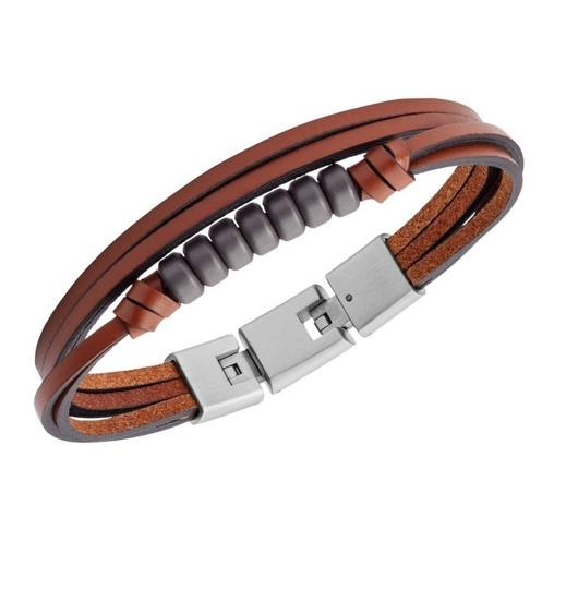 Fossil NEW Multi-Strand Hematite and Brown Leather Bracelet JF03128 Image 1