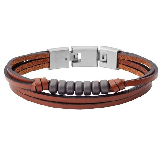 Fossil NEW Multi-Strand Hematite and Brown Leather Bracelet JF03128 Image 2