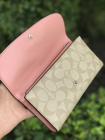 Coach Coach PVC and Leather Checkbook Wallet In Light Khaki Blush Image 2