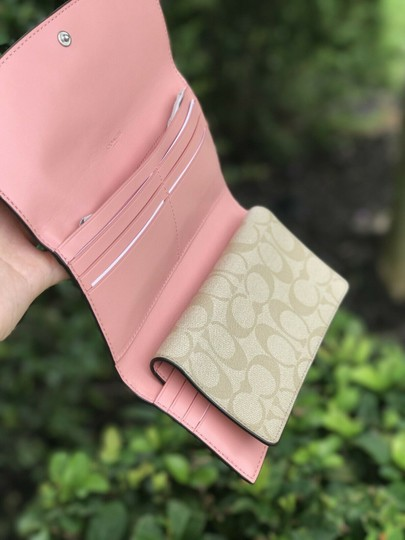 Coach Coach PVC and Leather Checkbook Wallet In Light Khaki Blush Image 3