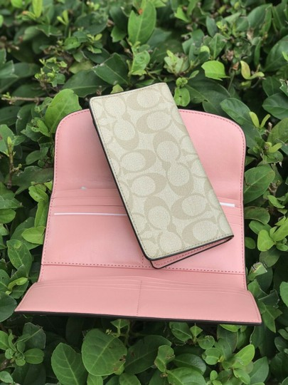 Coach Coach PVC and Leather Checkbook Wallet In Light Khaki Blush Image 5