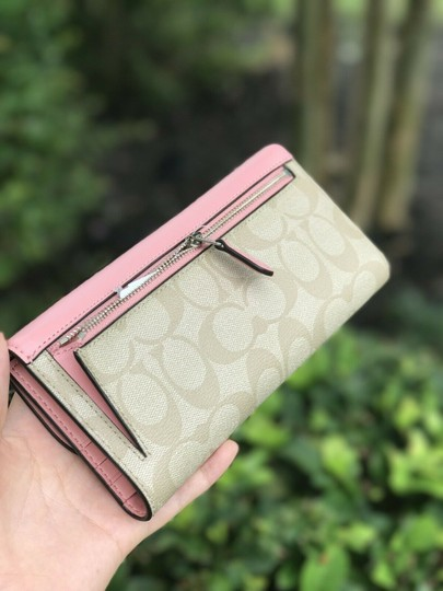 Coach Coach PVC and Leather Checkbook Wallet In Light Khaki Blush Image 1