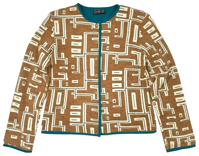 Preload https://img-static.tradesy.com/item/26000110/fendi-ff-cardigan-turquoise-brown-sweater-0-2-650-650.jpg