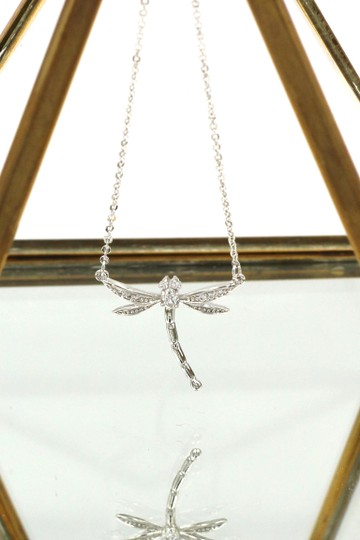 Ocean Fashion Sterling silver dragonfly pendant necklace Image 2