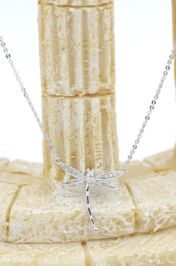 Ocean Fashion Sterling silver dragonfly pendant necklace Image 3