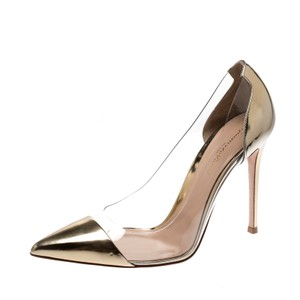Gianvito Rossi Patent Leather Pointed Toe Gold Pumps