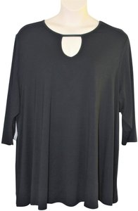 Jessica London Keyhole Swing Tunic Plus-size Top Black