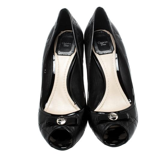 Dior Leather Peep Toe Black Pumps Image 1