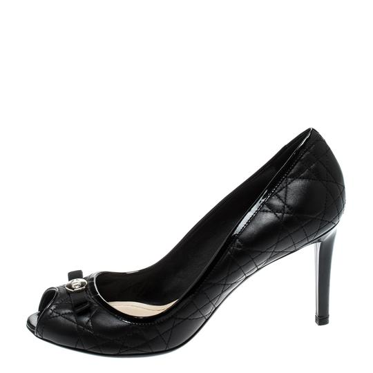 Dior Leather Peep Toe Black Pumps Image 5