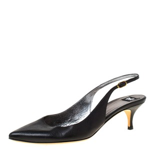 Dolce&Gabbana Leather Pointed Toe Slingback Black Pumps