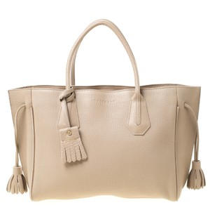 Longchamp Leather Tote in Beige