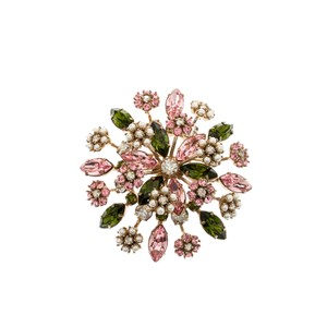 Valentino Multicolor Crystal Faux Pearl Flower Embellished Pin Brooch