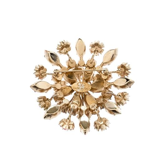 Valentino Multicolor Crystal Faux Pearl Flower Embellished Pin Brooch Image 1