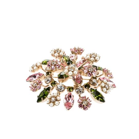 Valentino Multicolor Crystal Faux Pearl Flower Embellished Pin Brooch Image 2