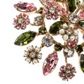 Valentino Multicolor Crystal Faux Pearl Flower Embellished Pin Brooch Image 4