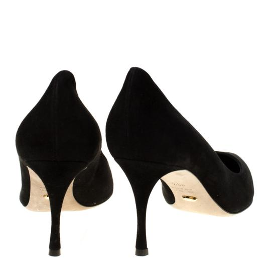 Sergio Rossi Suede Pointed Toe Leather Black Pumps Image 2