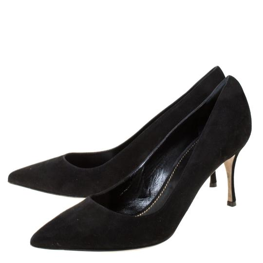 Sergio Rossi Suede Pointed Toe Leather Black Pumps Image 4