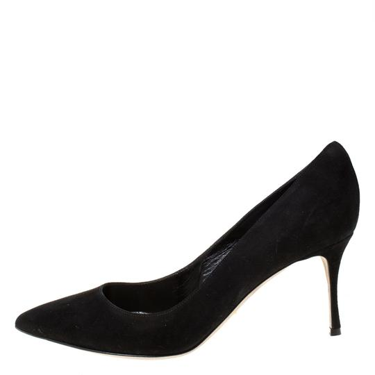 Sergio Rossi Suede Pointed Toe Leather Black Pumps Image 5