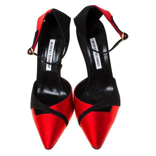 Manolo Blahnik Satin Pointed Toe Ankle Strap Red Pumps Image 2