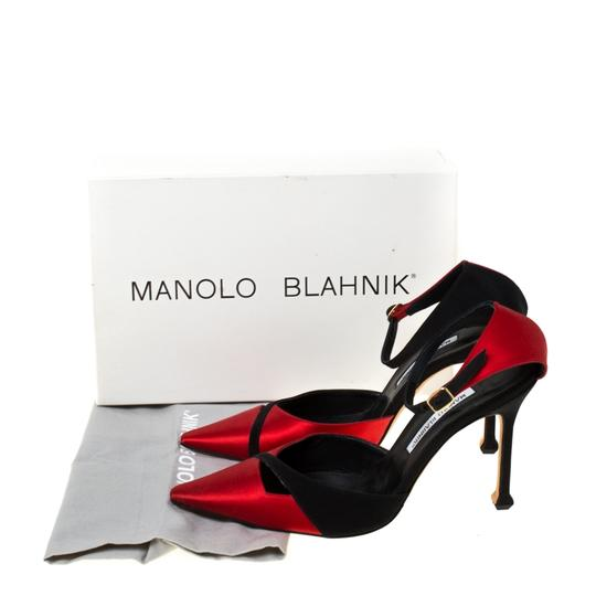 Manolo Blahnik Satin Pointed Toe Ankle Strap Red Pumps Image 7