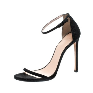 Stuart Weitzman Leather Textured Black Sandals
