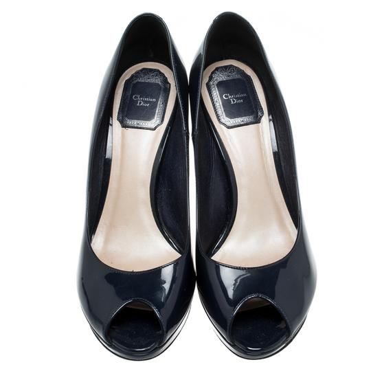 Christian Dior Patent Leather Leather Peep Toe Navy Blue Pumps Image 1