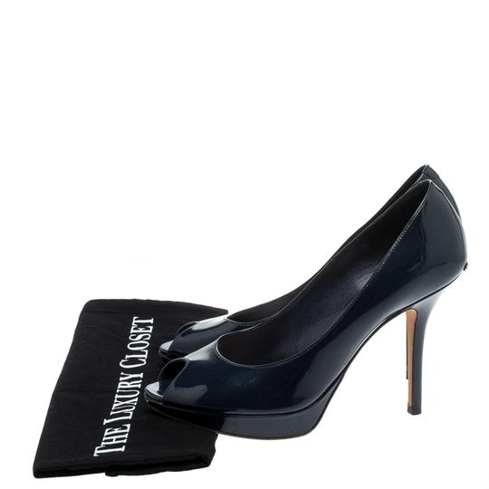 Christian Dior Patent Leather Leather Peep Toe Navy Blue Pumps Image 7
