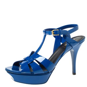 Saint Laurent Patent Leather Platform Blue Sandals