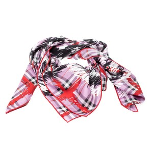 Burberry Burberry Fuchsia Pink Scribble Print Mulberry Silk Twill Square Scarf