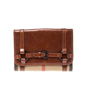 Burberry Brown/Beige House Check Canvas and Leather Flap Compact Wallet