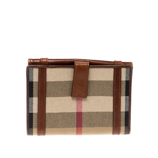 Burberry Brown/Beige House Check Canvas and Leather Flap Compact Wallet Image 1