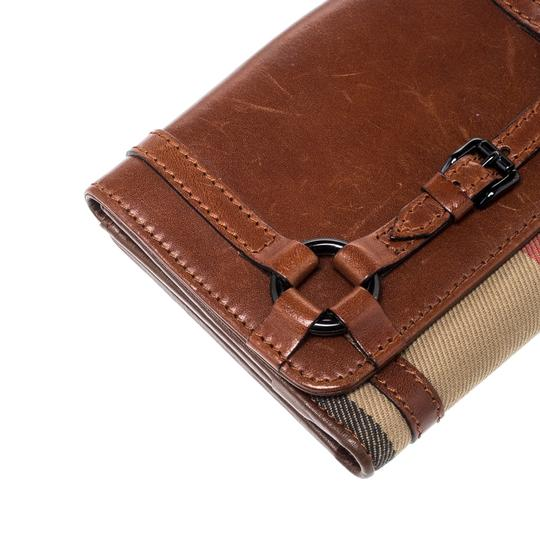 Burberry Brown/Beige House Check Canvas and Leather Flap Compact Wallet Image 10