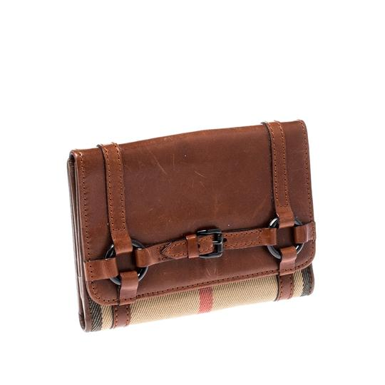 Burberry Brown/Beige House Check Canvas and Leather Flap Compact Wallet Image 2