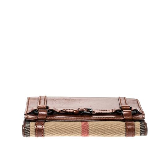Burberry Brown/Beige House Check Canvas and Leather Flap Compact Wallet Image 3