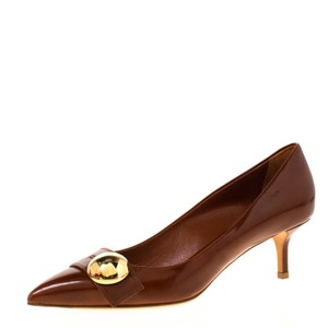 Louis Vuitton Pointed Toe Leather Brown Pumps