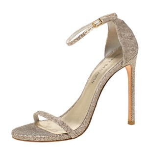Stuart Weitzman Ankle Strap Open Toe Metallic Sandals