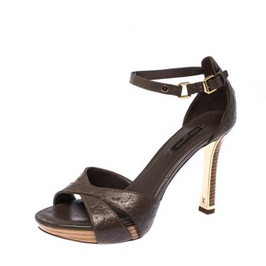 Louis Vuitton Leather Ankle Strap Brown Sandals
