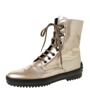 Tod's Metallic Patent Leather Leather Beige Boots