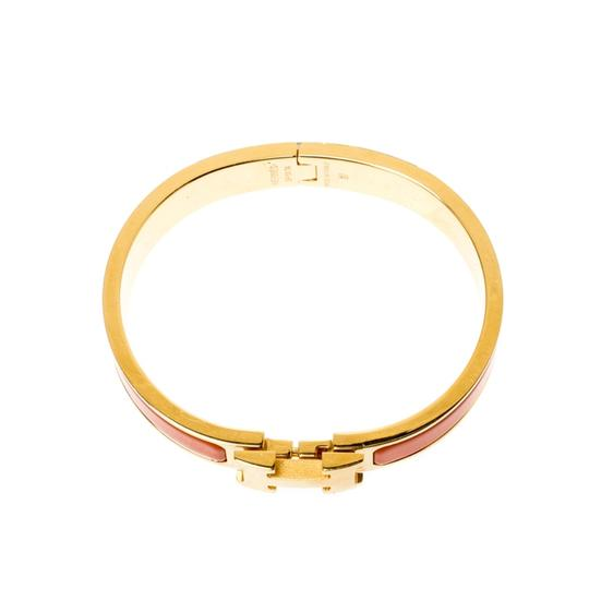 Hermès Clic Clac H Orange Enamel Gold Plated Narrow Bracelet PM Image 2