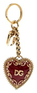 Dolce&Gabbana Red Heart Charm Textured Gold Tone Key Chain