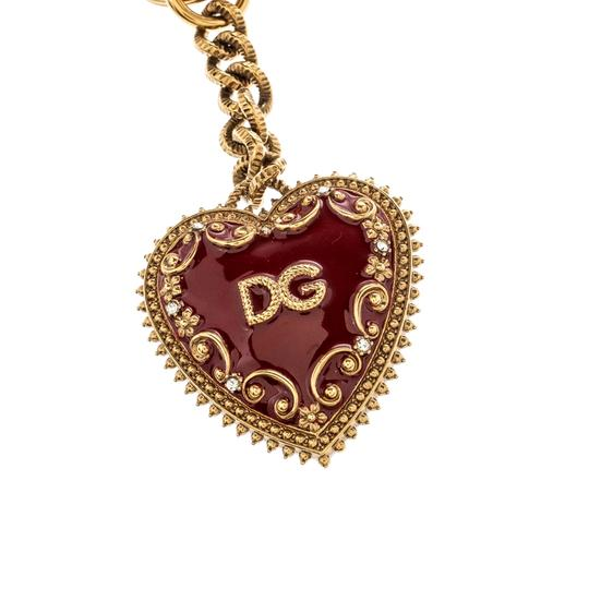 Dolce&Gabbana Red Heart Charm Textured Gold Tone Key Chain Image 1