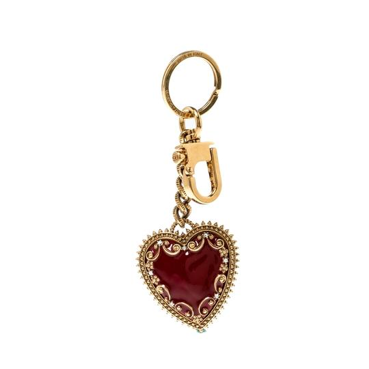 Dolce&Gabbana Red Heart Charm Textured Gold Tone Key Chain Image 2